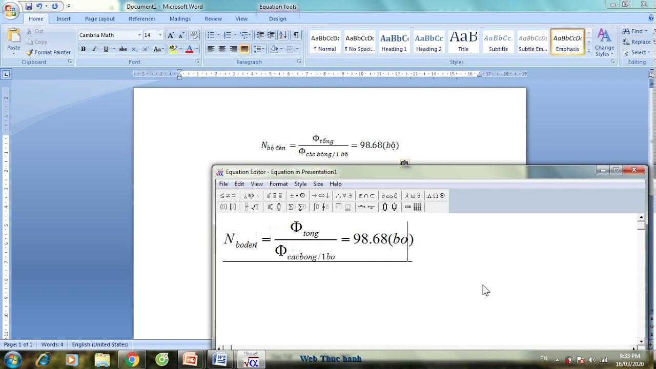 Chèn công thức toán trong PowerPoint 2007