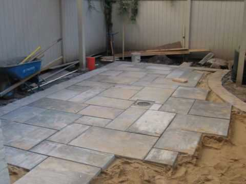How to install a Blue stone Patio - YouTube