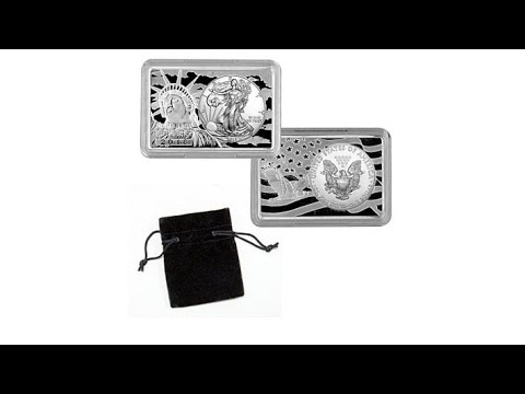 2018 Silver Eagle Embedded in 2Ounce  Silver Bar  AutoSh...