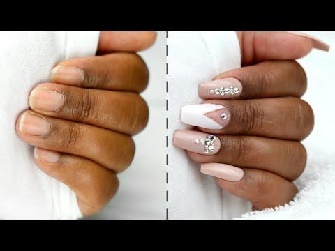 How I Do My Nails at Home | DIY fake nails * No Acrylic * thumbnail