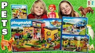 NEW Playmobil Tiny Paws Pet Hotel, Purrfect Stay Cat Boarding, Mobile Pet Groomer, and Dog Trainer