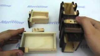 Tricky Opening Magic Wooden Box with Extra Secure Secret Drawer Meritline (item 266-268)