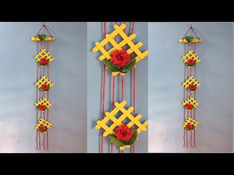 How To Make Wall Hanging With Waste Material Ice Cream Stick Craft
