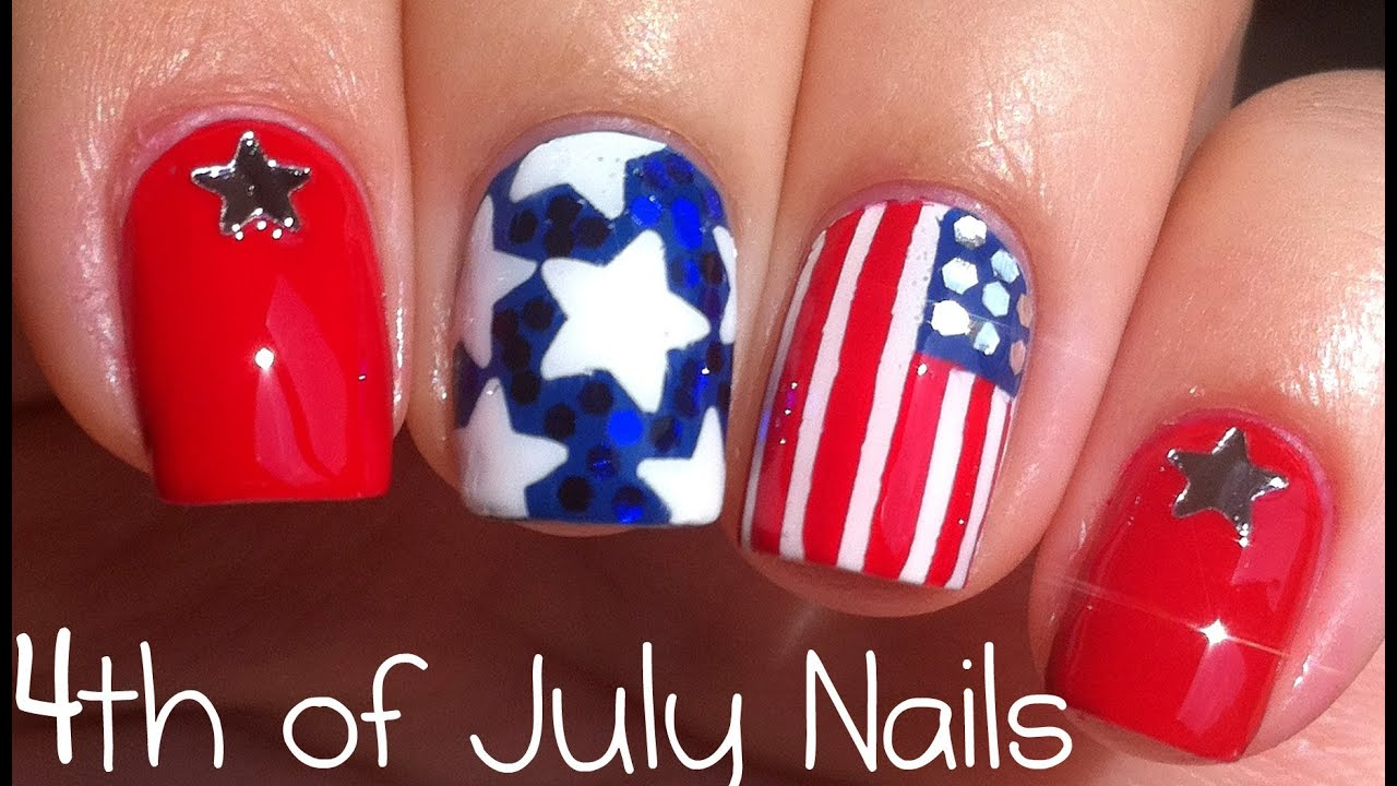 4th of July Nail Art Tutorial - YouTube