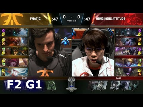 Fnatic vs Hong Kong Attitude | Game 1 Finals of Play-in Stage S7 LoL Worlds 2017 | FNC vs HKA G1