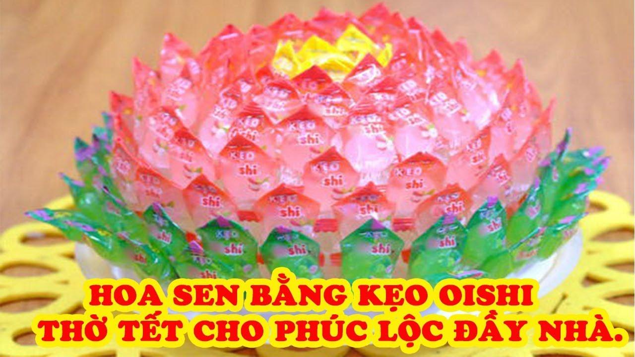 Cách làm hoa sen bằng kẹo oishi bày ban thờ Tết cho phúc lộc đầy nhà, Make Lotus Oishi flower