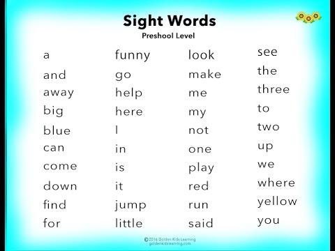 Learn Preschool English Sight Words ~ You Tube ~ - YouTube