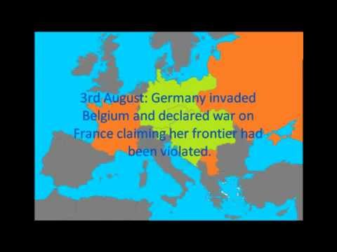 'July crisis' 1914 chronology - events building up to the First World War.