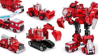 Transformers Copy Fire Rescue Combiner Fire Ladder Excavator Dump Bulldozer Truck Transformation