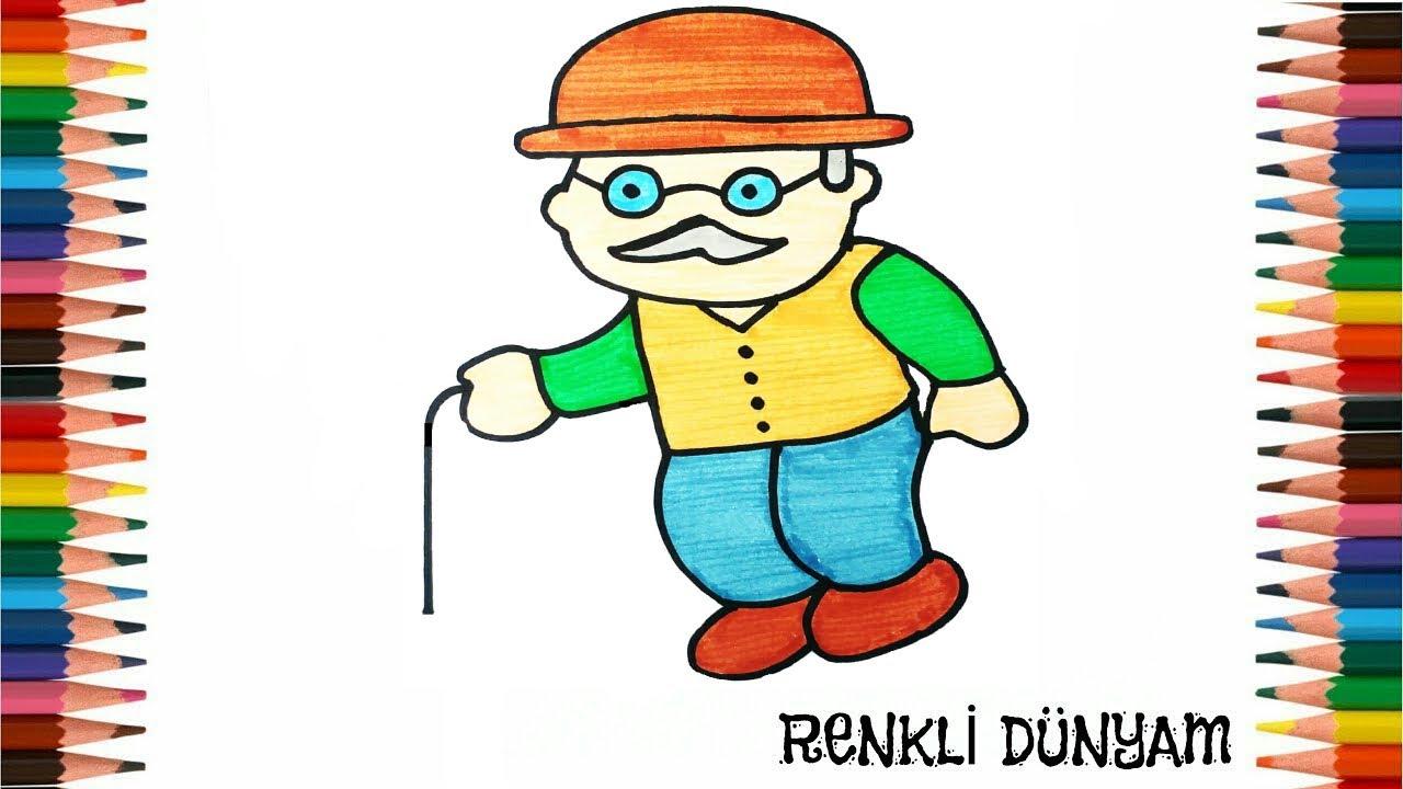 Dede Nasil Cizilir Dede Cizimi How To Draw Grandfather Renkli