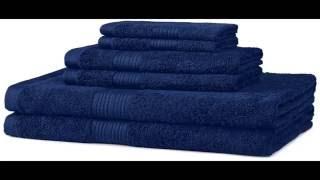Navy Blue Amazon Basics Fade Resistant Cotton 6-Piece Towel Set!
