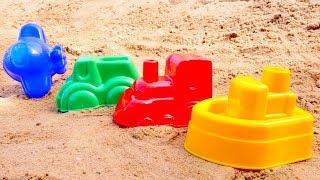 Farben lernen im Sandkasten. Kinder Video auf Deutsch.