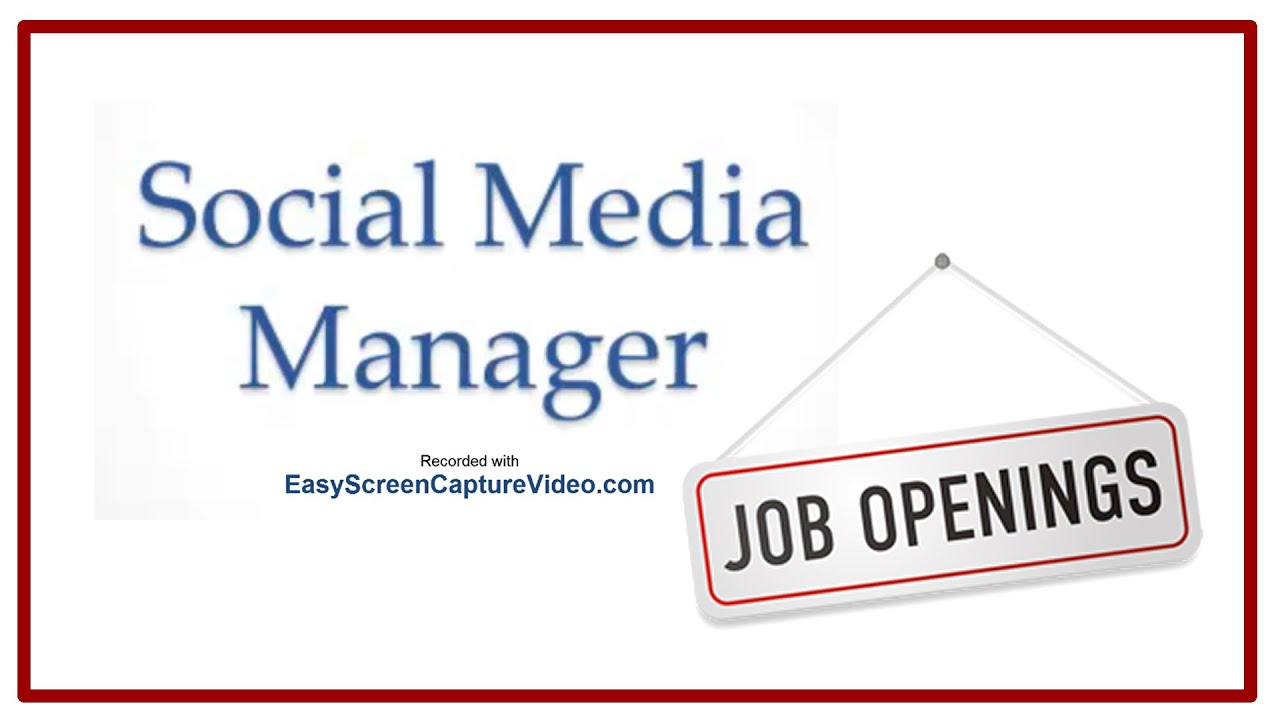 Social Media Manager Job Description YouTube – Social Media Job Description