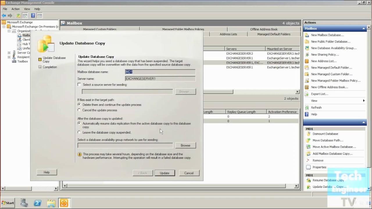 Suspend Resume Mailbox Database Copies In Dag Database