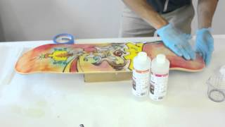protect the bottom of your skateboard deck art with epoxy resin