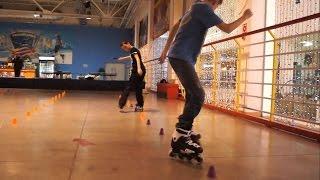 Уроки фристайл слалома в школе Роллер-Омск,  обучение катанию на роликовых коньках