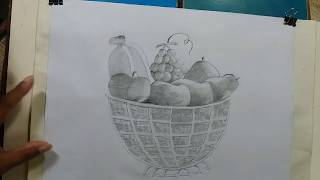 how to draw a still life fruits basket/fruits basket draw and shade pencil,step by step{very easy}..