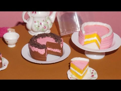 How to make a cake for dolls, barbies and others - miniature crafts DIY