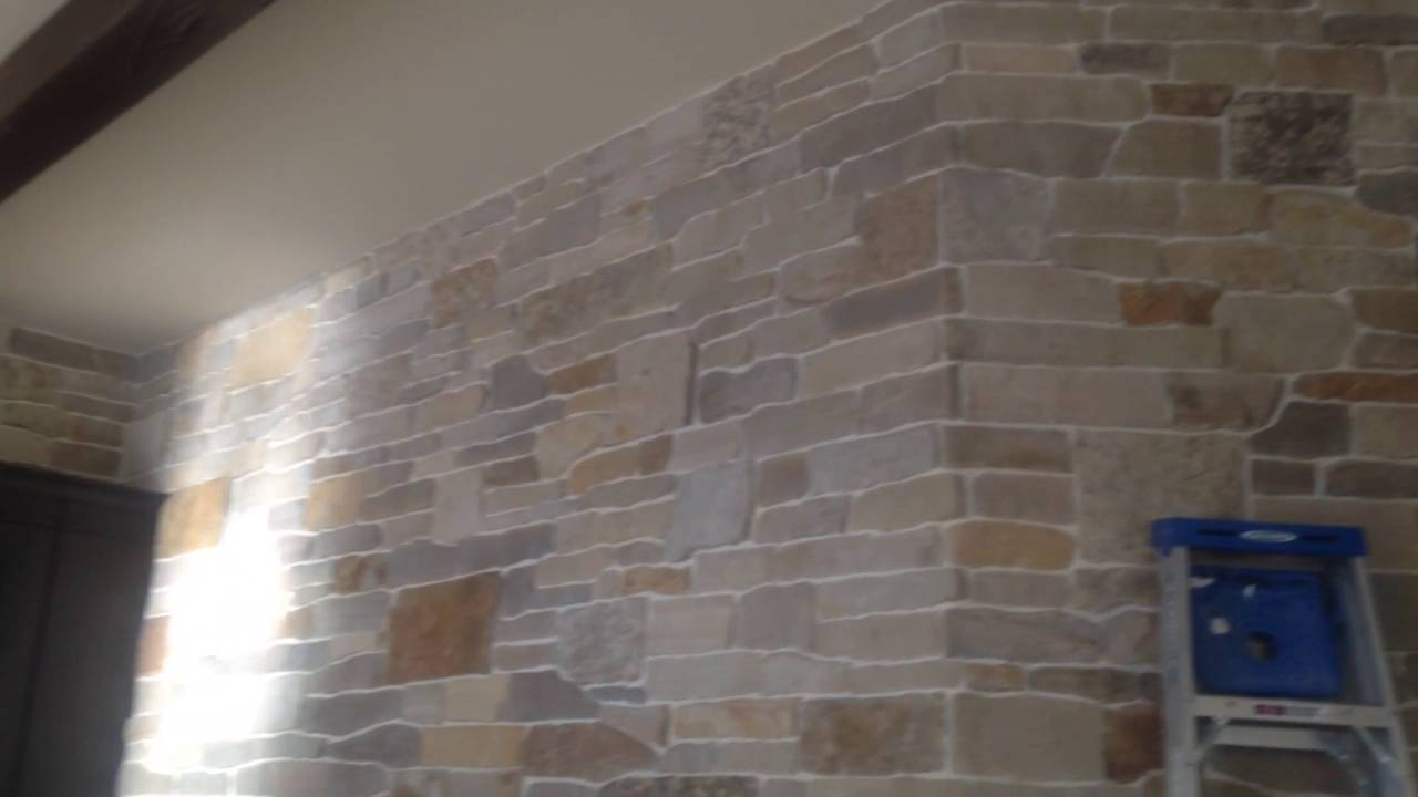 Interior STONE WALL Installation Grouted Joint. Natural Stone Veneer. Fort  Myers