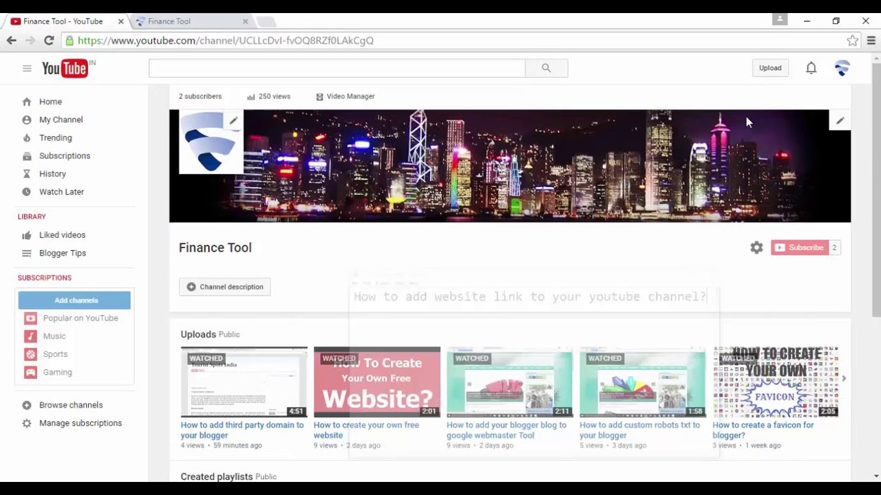 How to add website link to your youtube channel - YouTube