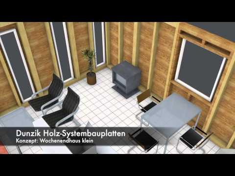 Dunzik Holz-Systembauplatten 3D Wochenendhaus klein