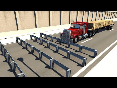 Consecutive Guardrails High Speed Crash Testing - BeamNG DRIVE