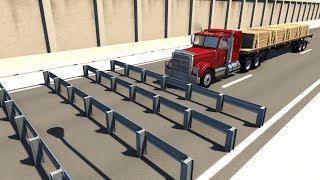 Consecutive Guardrails High Speed Crash Testing - BeamNG DRIVE