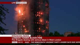 BBC News HD London Tower Block Fire Coverage - Early Hours 4am (5 minutes)