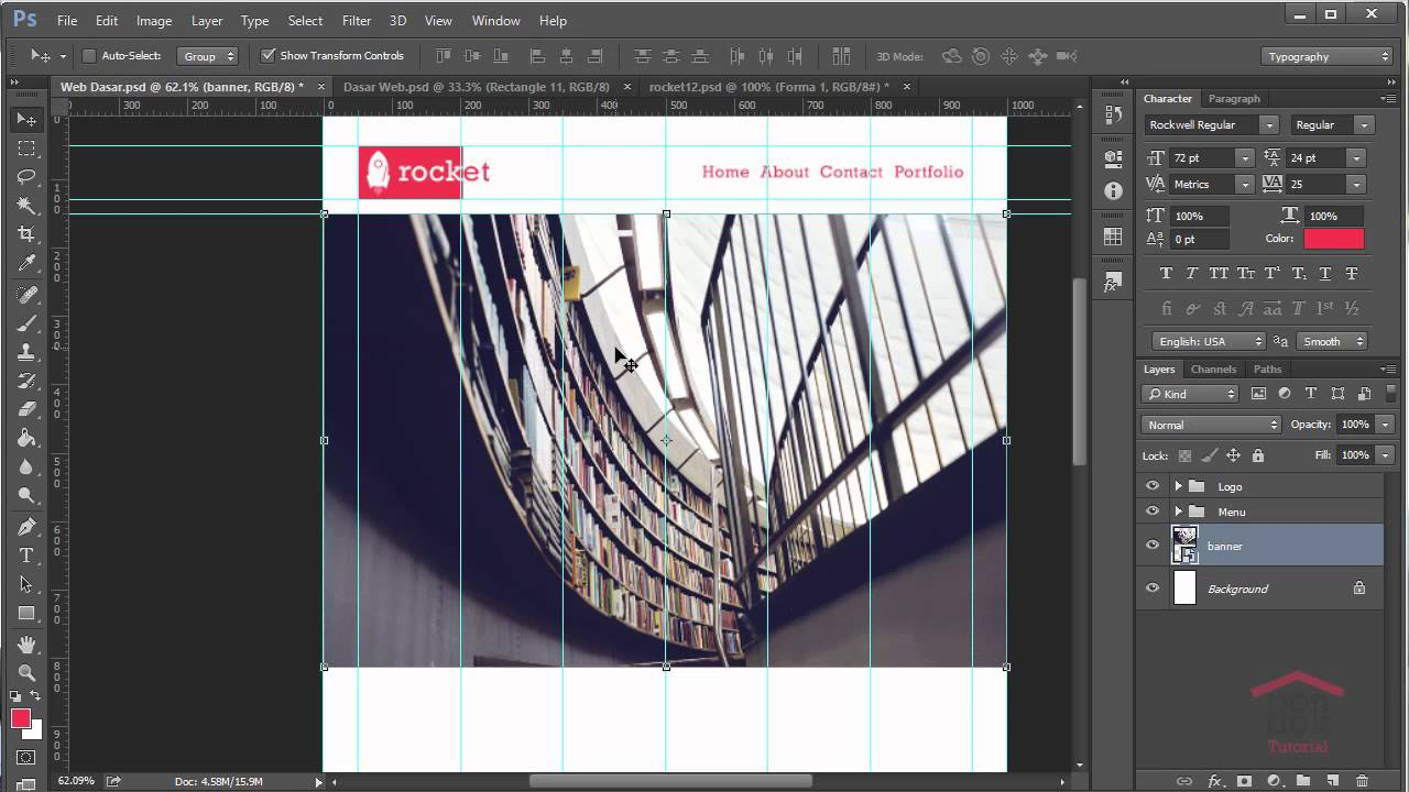 Cara Membuat Desain Web Di Photoshop Part 5 : Membuat ...
