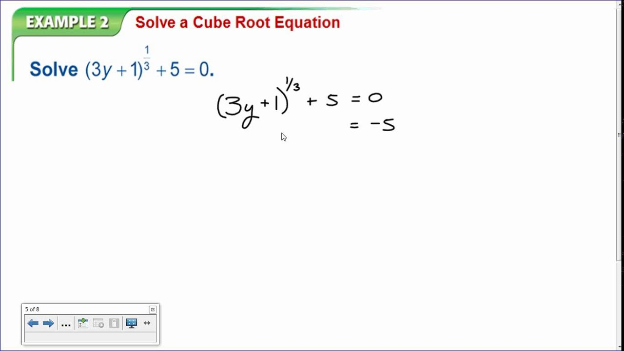 Algebra 2 Lesson 6 7 Solving Radical Equations And Inequalities