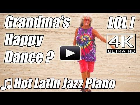 Hot Latin Jazz. Happy Dance Grandma? FUNNY. Piano Beats Instrumental Music Salsa songs 4K Video Fail