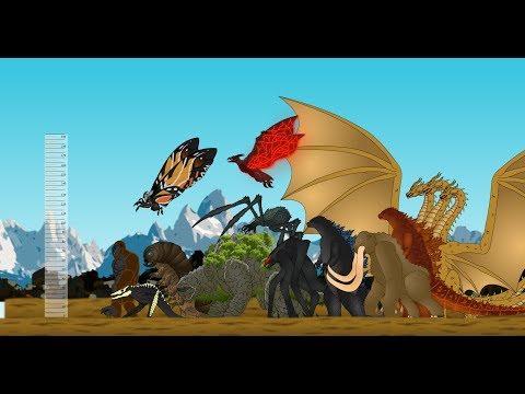Monsters Size Comparison (2019) : Godzilla Mothra  Behemoth Scylla Methuselah Rodan King Ghidorah