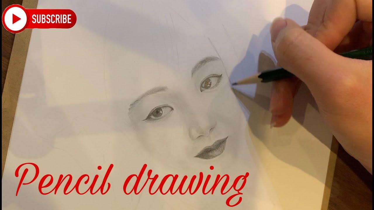 Vẽ chân dung bằng bút chì. Portrait with pencil. Pencil drawing