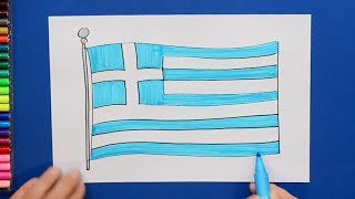 How to draw and color the National Flag of Greece