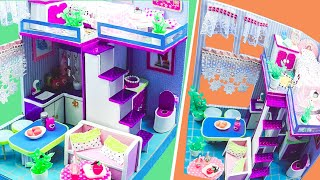 DIY Miniature Cardboard House #45  purple bathroom, kitchen, bedroom, living room for a family