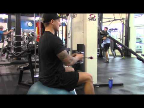 Stability Ball Cable Row