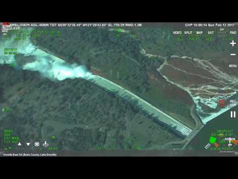 Oroville Dam Spillway Failure Live from Air (2017 Collapsing Dam California)