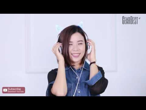 LX - 107 Wired Foldable Cat Ear Design Headphones - Gearbest.com