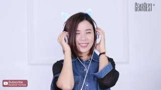 LX - 107 Wired Foldable Cat Ear Design Headphones - Gearbest.com