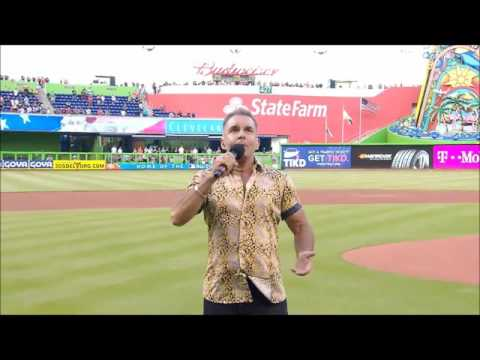 Peter Fernandez Sings Nat'l Anthem Marlins Stadium 5-13-17