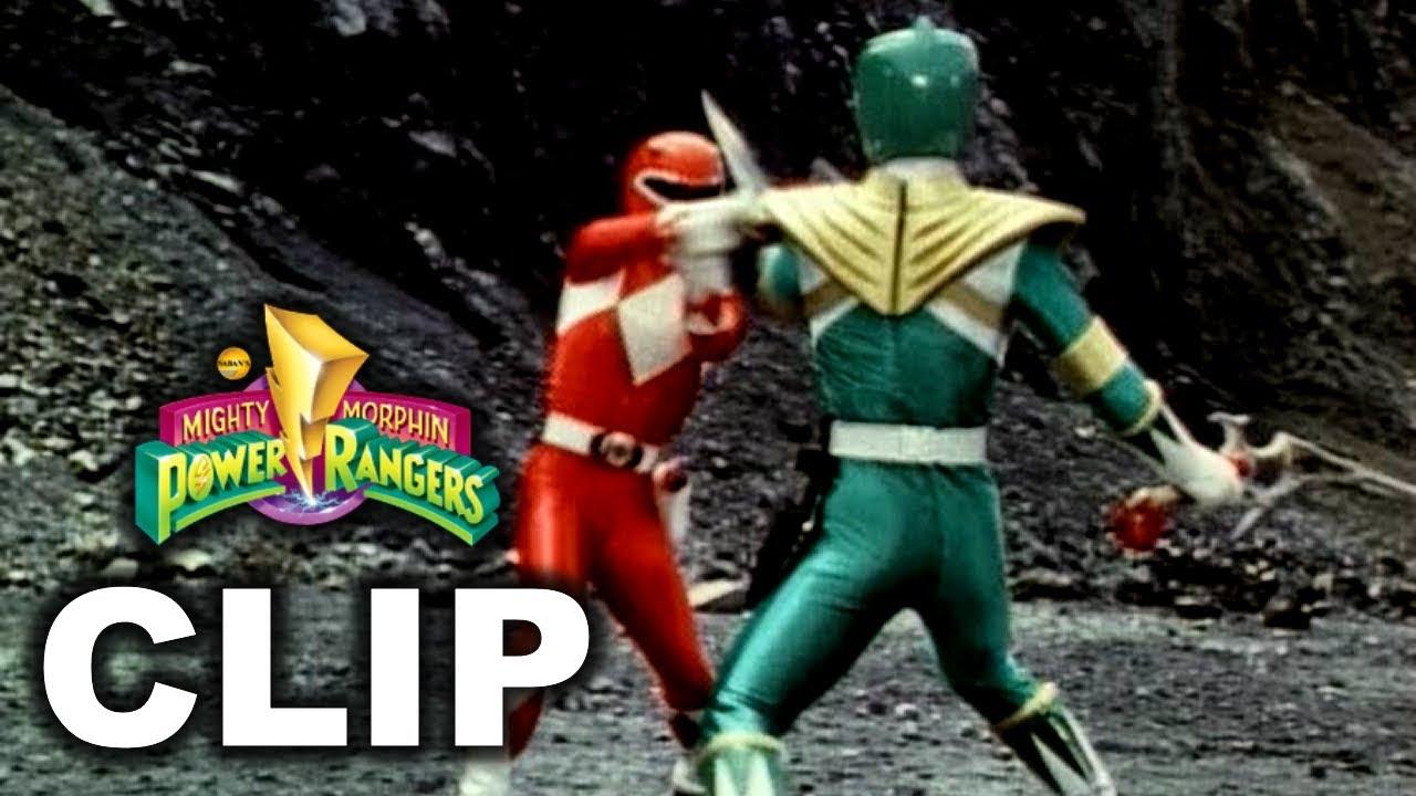 Mighty Morphin Power Rangers - Red Ranger Jason vs  Green Ranger Tommy  Fight ('Green With Evil')