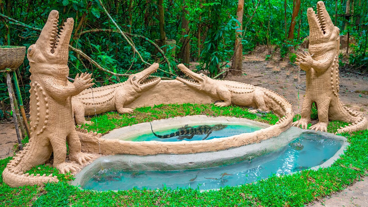 Build The Most Amazing Aquarium Fish Pond Around Building Crocodile Pond Shelter