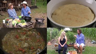 Cowboy Campfire Cooking Vegetable Soup (w/Sausage & Crawfish) & Spoon Bread (Episode #435)