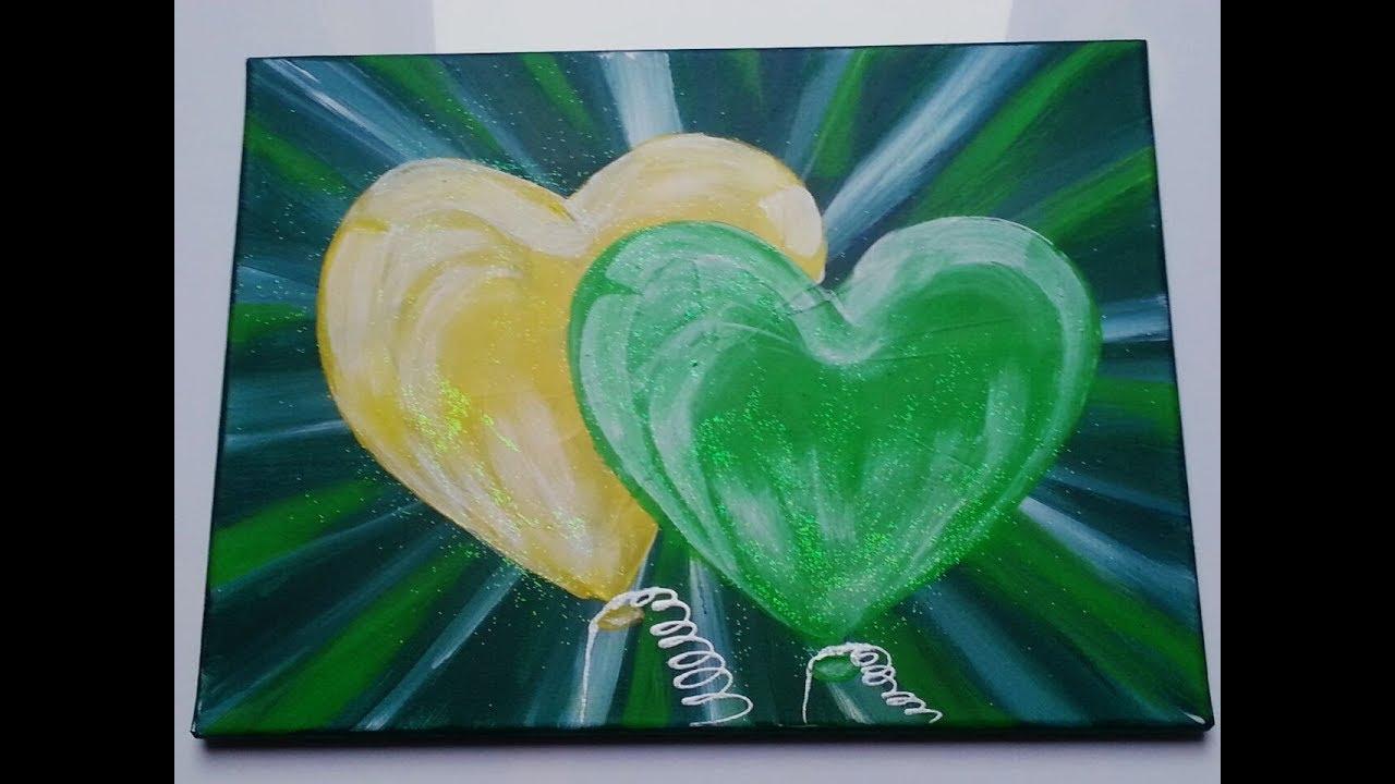 Malen Acryl Acrylic Painting Herz Luftballon Fasching