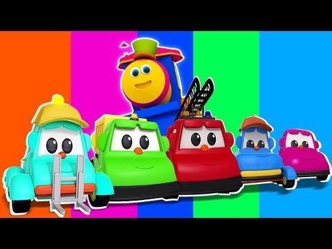 การเรียนรู้สีด้วยยานพาหนะบนถนน | บ๊อบรถไฟ | Learn Colors With Vehicles | Bob Train | Colors Video
