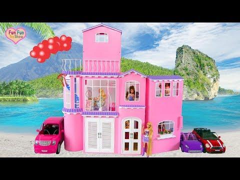 Barbie Pink Dream House Unboxing Setup Rumah impian boneka Barbie Casa de sonho