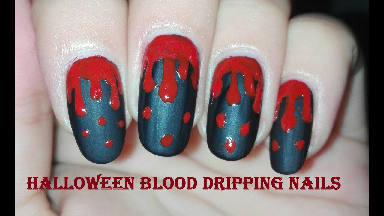Blood Dripping Nail Art Tutorial | DIY Halloween Nails ...