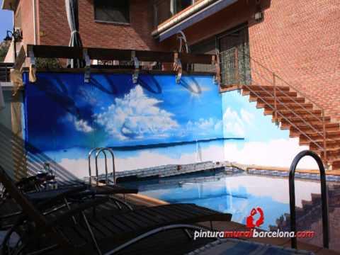 Mural art stico de playa en muro piscina artistic beach for Pintado de piscinas