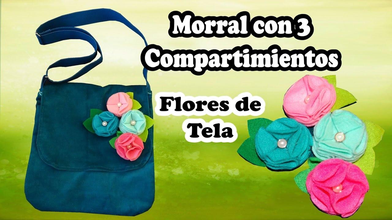 Boutique en ligne 8b391 91bda Morral de Tela con 3 Compartimientos decorado con Flores de Tela
