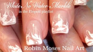No Water Needed - DIY WHITE Marble nail art Tutorial